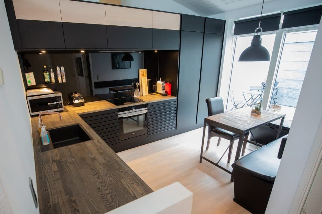 piso de madeira decoração cozinha